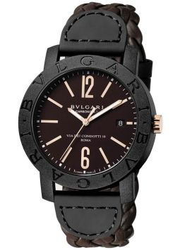 Bvlgari Automatic Brown Dial Brown Leather Men's 102633