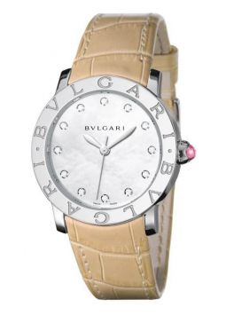 Bvlgari BVLGARI White Mother of Pearl Diamond Dial Beige Alligator Leather Strap 101894