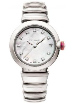 Bvlgari LVCEA Automatic White Mother of Pearl Diamond Dial Stainless Steel 102199