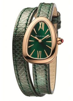 Bvlgari Serpenti Green Dial Ladies Double-Twirl Leather 102726