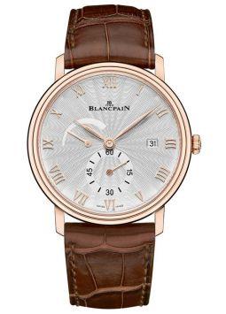Blancpain Villeret Silver Dial 18kt Rose Gold Brown Leather 6606-3642-55B