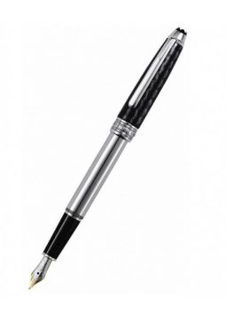 Montblanc Meisterstuck Solitaire Carbon & Steel Fountain Pen 5827 5827